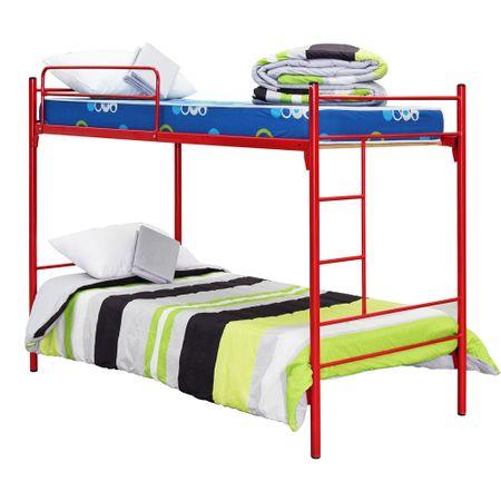 Camarote-Metalico-1-Plaza-Mantahue-Fijo-Alfa-Rojo---Colchones-Espuma---Textil
