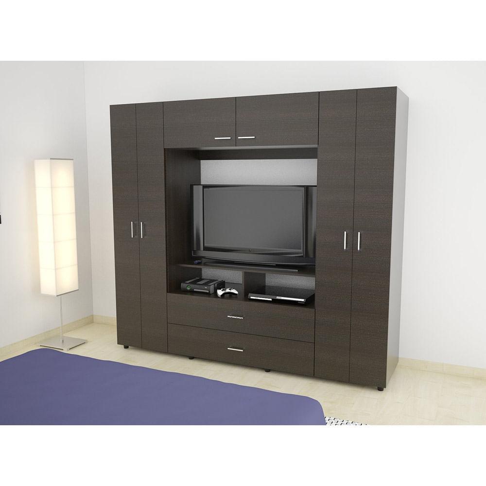 Cl set tuhome 6 puertas 2 cajones tv 46 z 200 wengue corona for Closet con espacio para tv