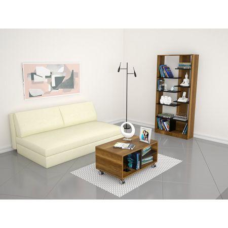 Combo-TuHome-Biblioteca----Mesa-de-Centro-Classic-Color-Vedra-Caramelo-Wengue