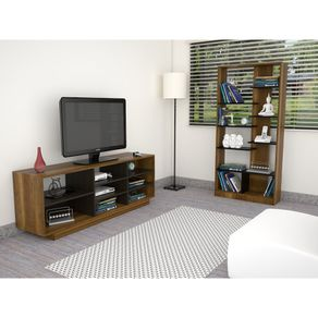 Combo-TuHome-Rack-TV-46----Biblioteca-Classic-Color-Vedra-Caramelo-Wengue