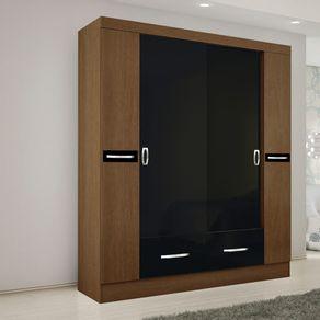 Closet-Roch-4-Puertas-2-Cajones-Avellana-Negro