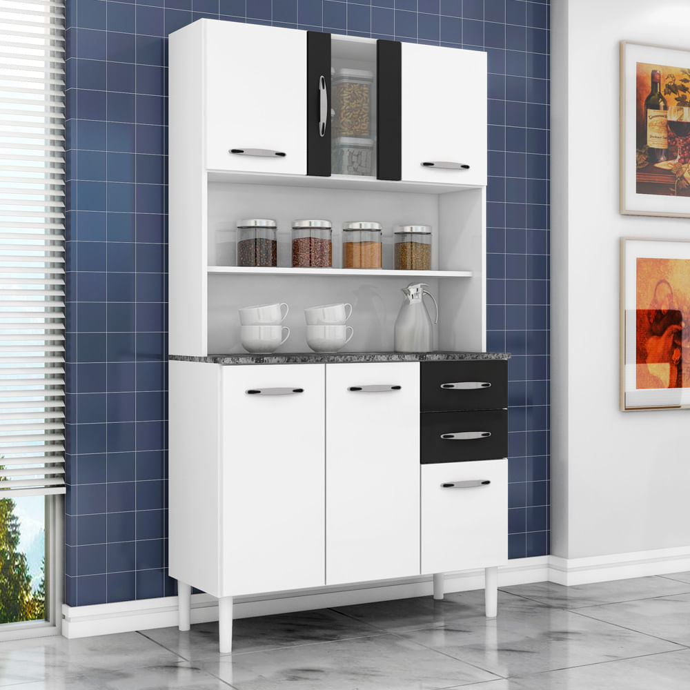 Mueble de Cocina 6 Puertas 2 Cajones Favatex Kit 2002306 BlancoNegro