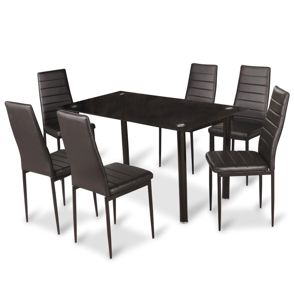 Juego de comedor 6 sillas cubierta de vidrio idetex emi for Juego de comedor de cocina