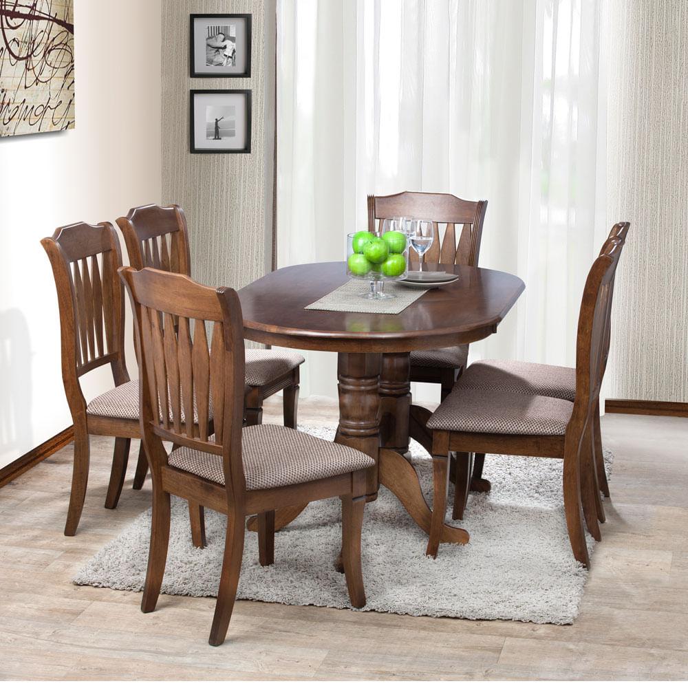 Juego de comedor 6 sillas deco casa ovalado toledo for Comedor de madera 6 sillas