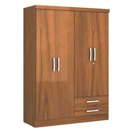 Closet-4-Puertas-2-Cajones-Yardas--S444--Teca-Alto-Brillo