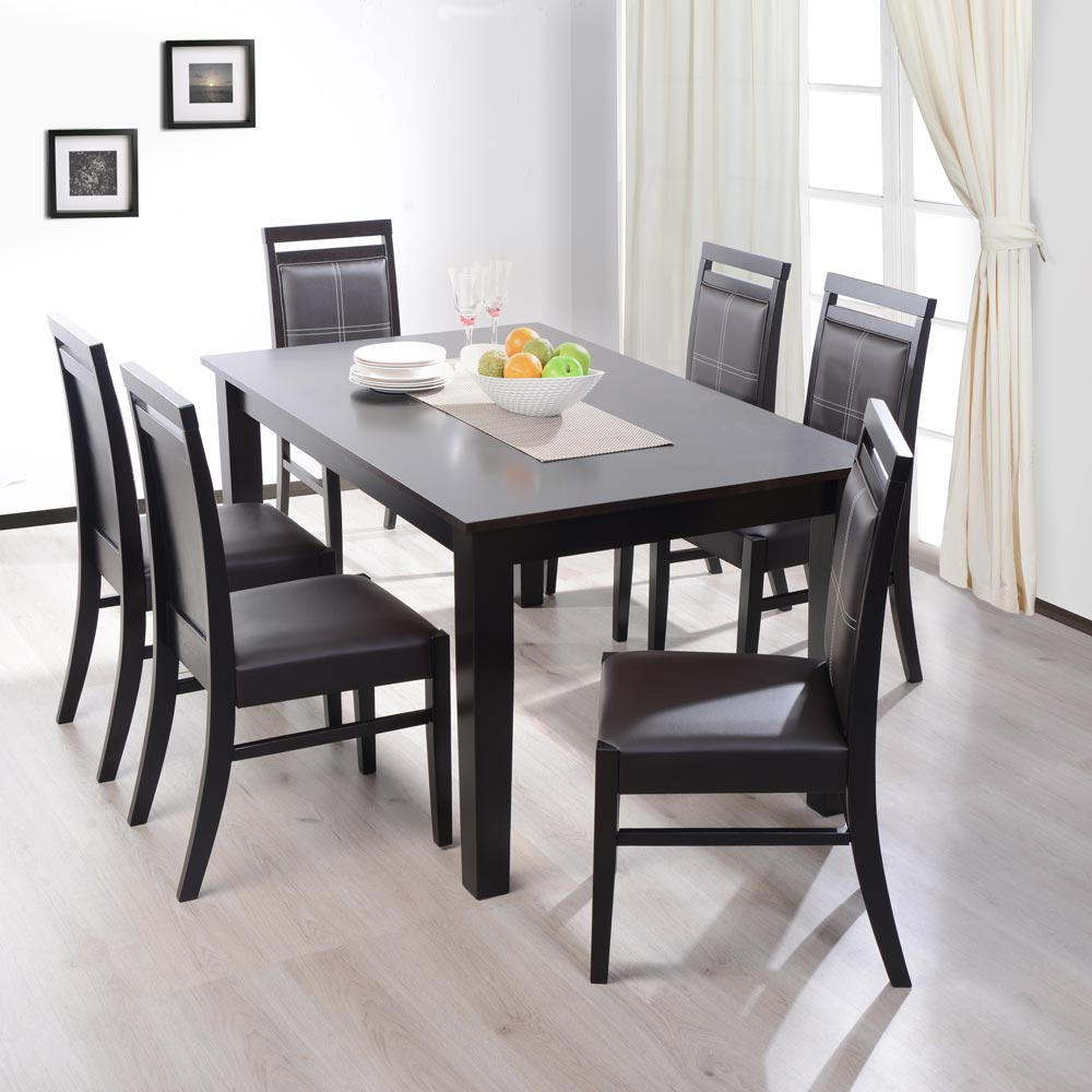Juego de comedor deco casa 6 sillas brooklyn corona for Juego comedor madera 6 sillas