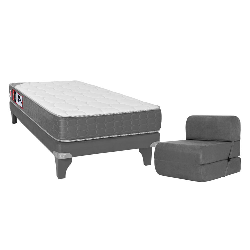 Box ib rico 1 1 2 plaza celta active suede 105x190 gris for Sillon cama 2 plazas precios