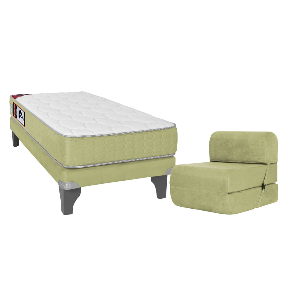 Box ib rico 1 plaza celta active suede 90x190 pistacho for Sillon cama 1 plaza nuevo