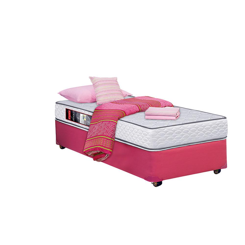 Cama americana 1 1 2 plazas celta apolo 105x190 rosado for Textil cama