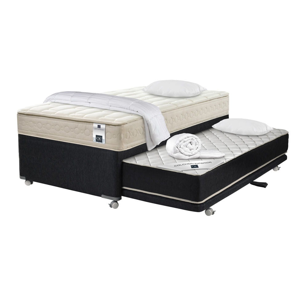 Divan cama 1 1 2 plaza cic ortopedic black 105x200 set for Precio cama 1 plaza
