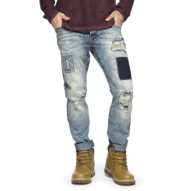 Jeans-Slim-Destroyed-Full-Parches-Azul-Claro