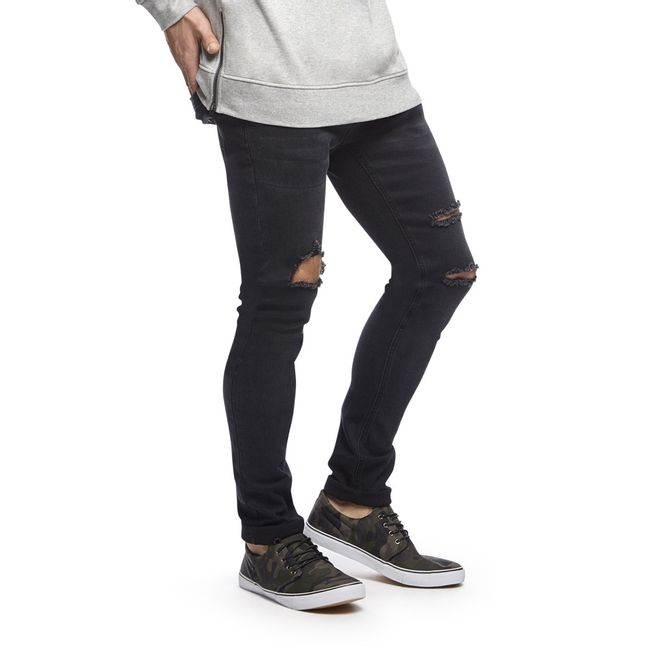 Jeans-Destroyed-Skinny-Rodilla-Negro