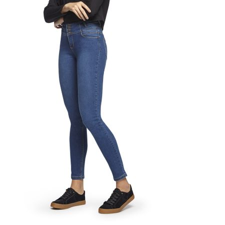 Jeans-High-Wasist-4-Botones-Skinny-azul-Claro-