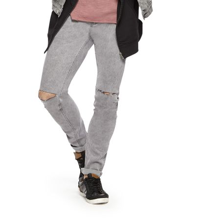 Jeans-Azul-Strech-Skinny-Destroyed-Cut-Knee-LT-Grey