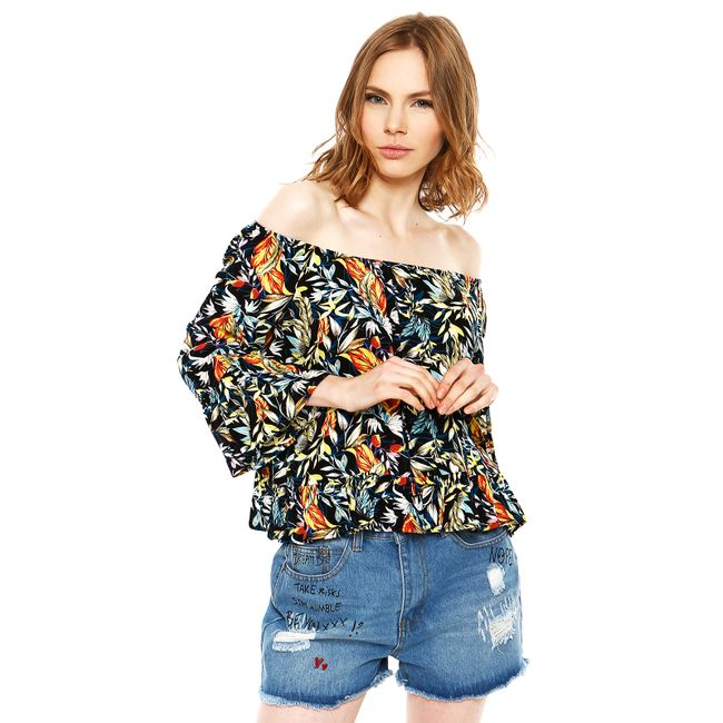 lusa-Off-Shoulder-Manga-3-4-Negro-Tropical-Print
