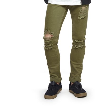 Jeans-Destroyed-Skinny-Green-Army-Green-