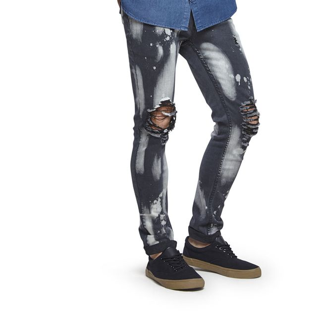 Jeans-Skinny-Declorado-Destroyed-Rodilla-White-Black-