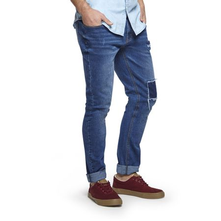 Jeans-Destroyed-Skinny-Parche-a-Tono-Blue-