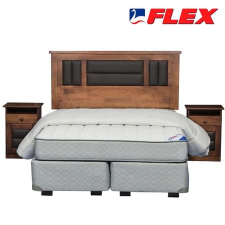 Box-Spring-Base-Normal-2-Plazas-Flex---Almohadas---Plumon---Set-Maderas-