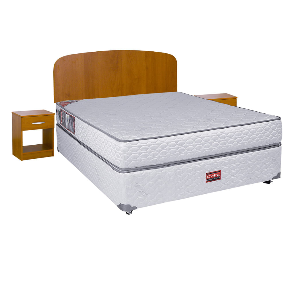 Cama americana base normal 2 plazas celta set de maderas for Futon cama plaza y media
