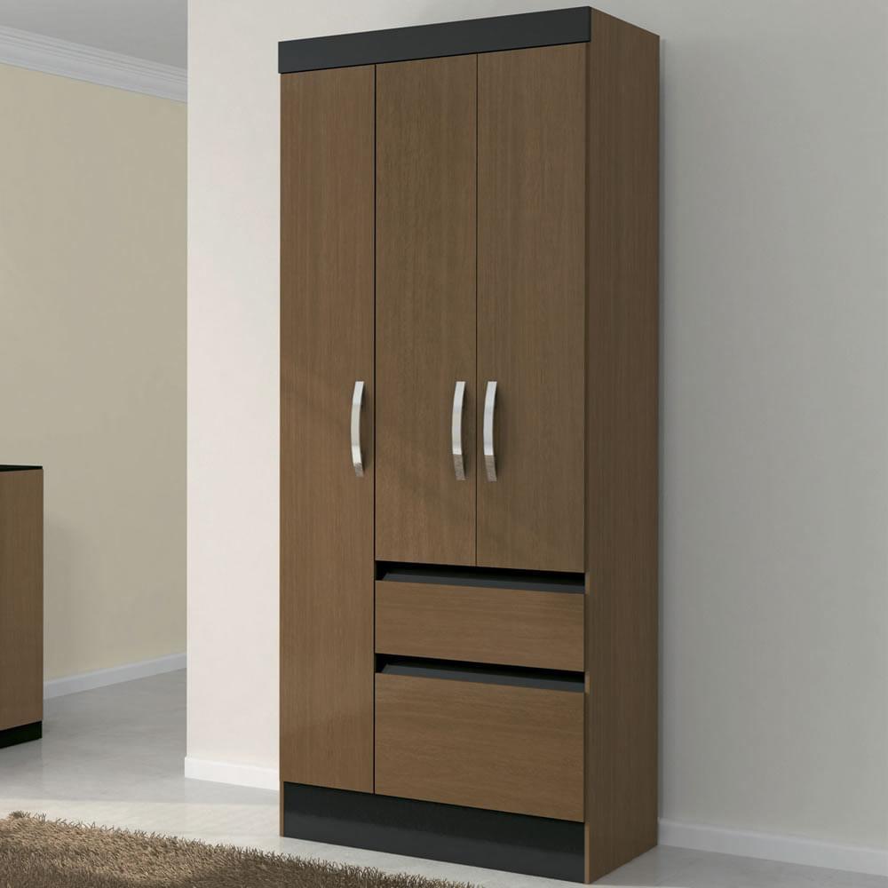 Cl set 3 puertas 2 cajones avellana negro roch corona for Medidas para closets de madera