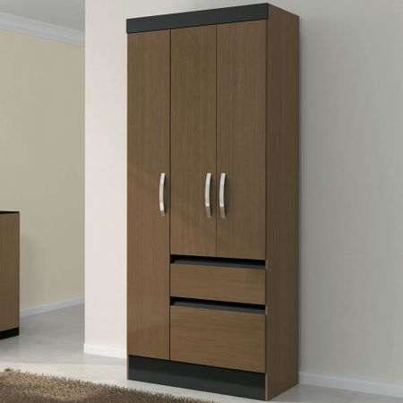Closet-3-Puertas-2-Cajones-Avellana-Negro-Roch-