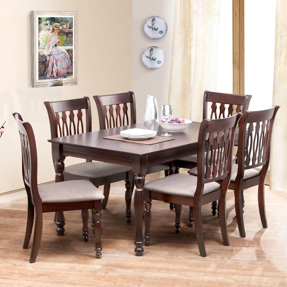 Juego de comedor 6 sillas antiqu deco casa corona for Comedor 6 sillas usado