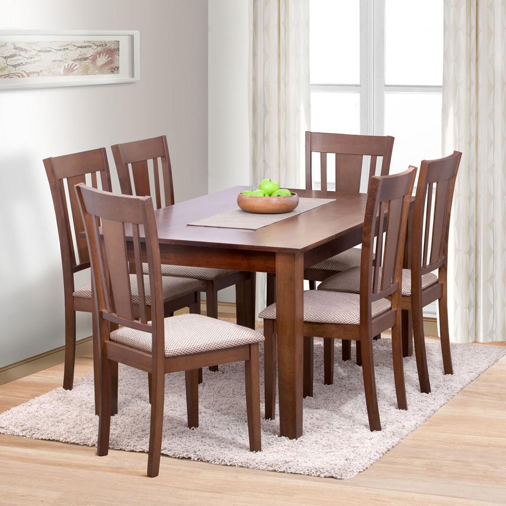 Juego de comedor 6 sillas madrid deco casa corona for Imagenes de comedores de madera