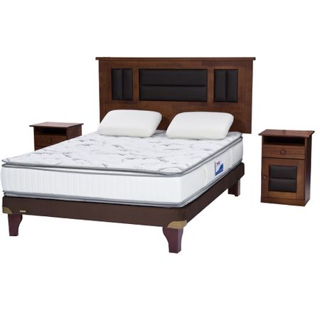 Cama-Europea-2-Plazas-Flex-Base-Normal-Chocolate-Innova---Almohada-Viscoelasticas----Maderas-Lorraine