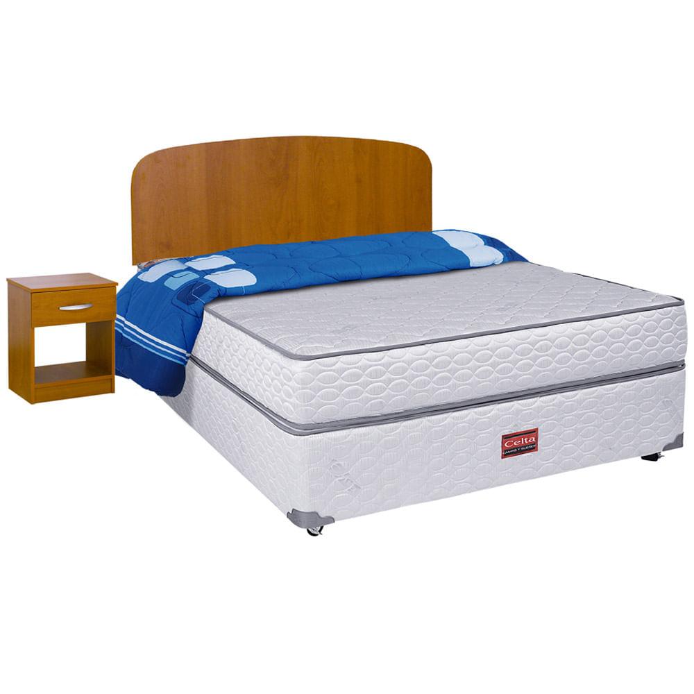 cama americana full asturias + respaldo + 1 velador + cobertor celta ...