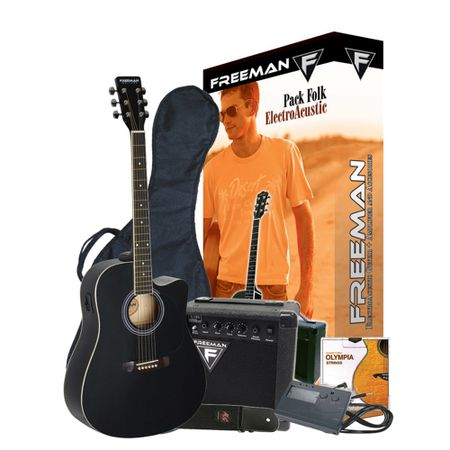 Pack-Guitarra-Electroacustica-Freeman-Folk