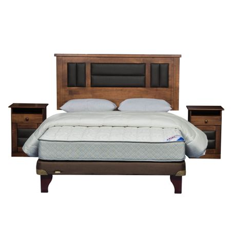 Cama-Europea-2-Plazas-Base-Normal-Flex-Therapedic-Chocolate---Textil---Maderas-Lorraine