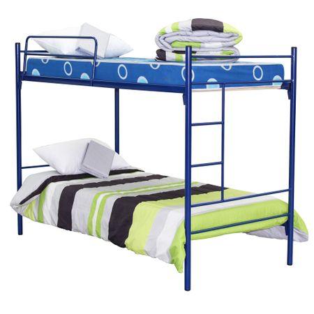 Camarote-Metalico-1-Plaza-Mantahue-Fijo-Alfa-Azul---Colchones-Espuma---Textil