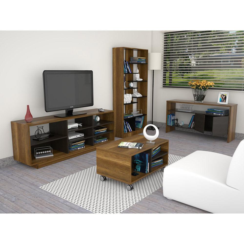 Combo-TuHome-Rack-TV-46----Biblioteca---Mesa-de-Arrimo---Mesa-de-Centro-Classic-Color-Vedra-Caramelo-Wengue