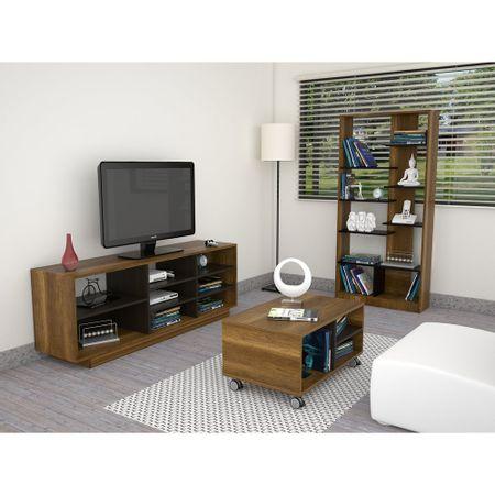 Combo-TuHome-Rack-TV-46----Biblioteca---mesa-de-Centro-Classic-Color-Vedra-Caramelo-Wengue