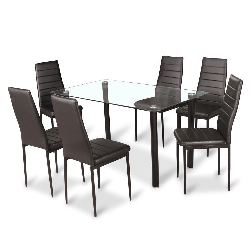 Juego de comedor 6 sillas cubierta de vidrio idetex emi for Comedor de cristal