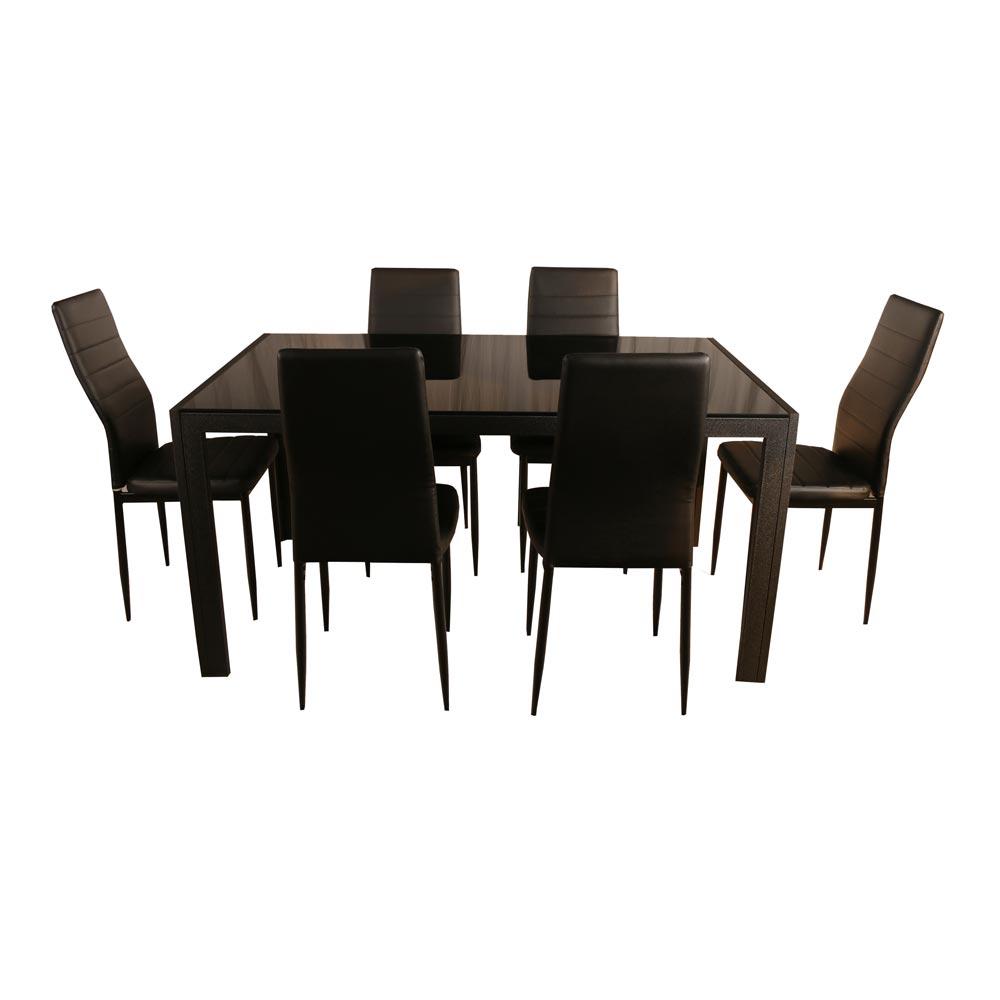 juego de comedor decomuebles 6 sillas delta cubierta de On comedor vidrio 6 sillas