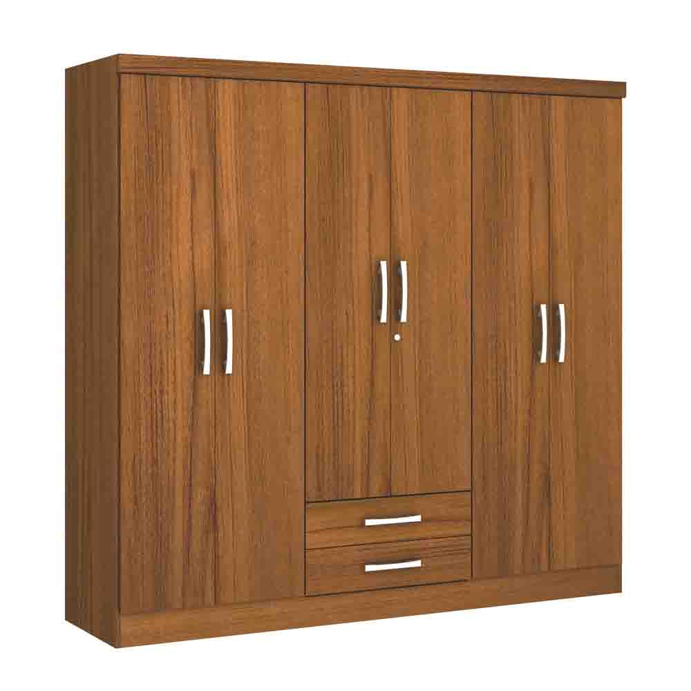 Closet-6-Puertas-2-Cajones-Yardas--S446--Teca-Alto-Brillo