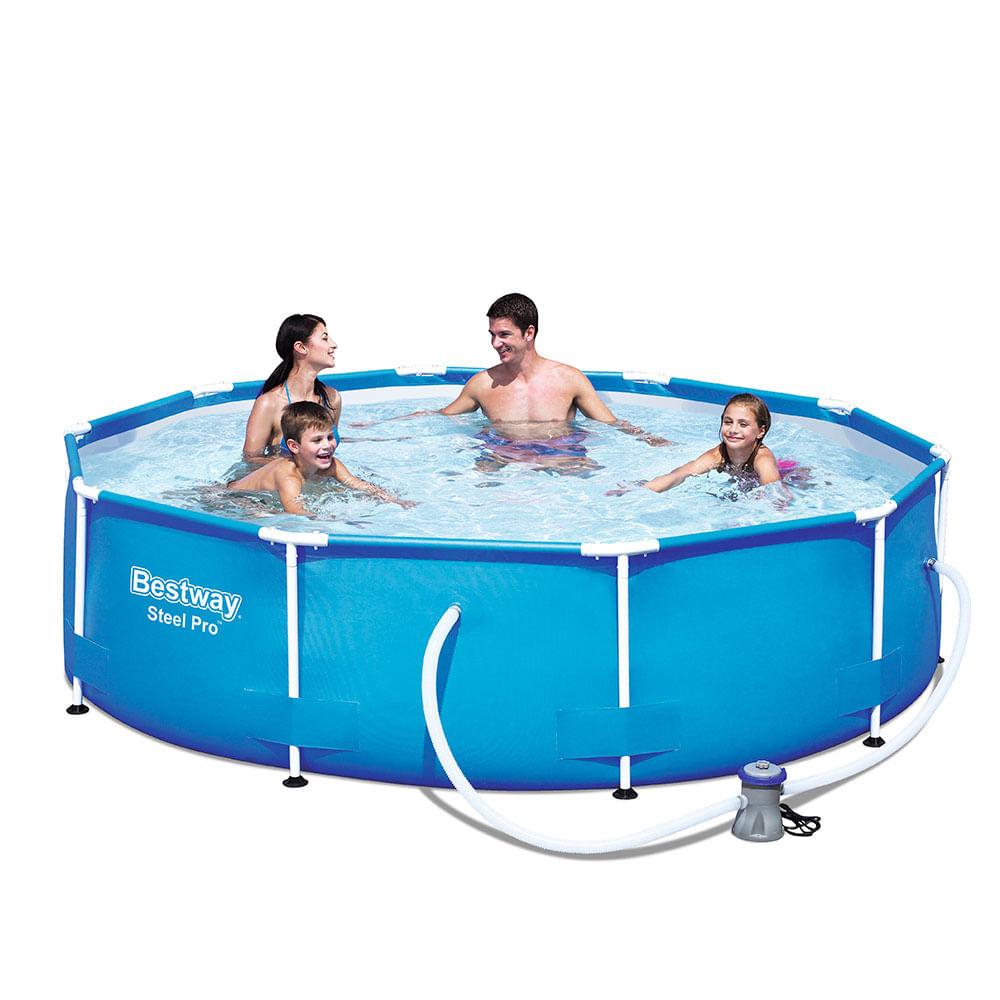 piscina redonda steel pro family litros bestway corona