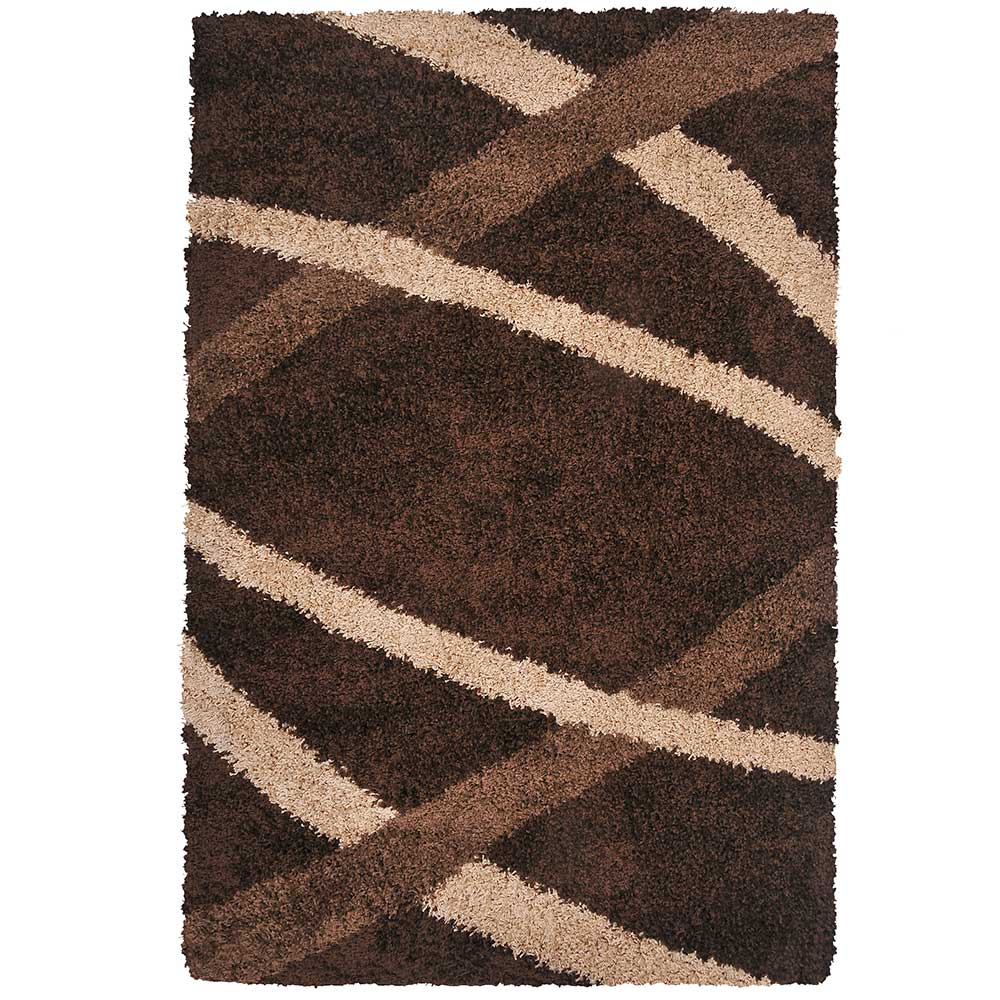 Alfombra shaggy studio 50x200 grid chocolate corona for Alfombra costo