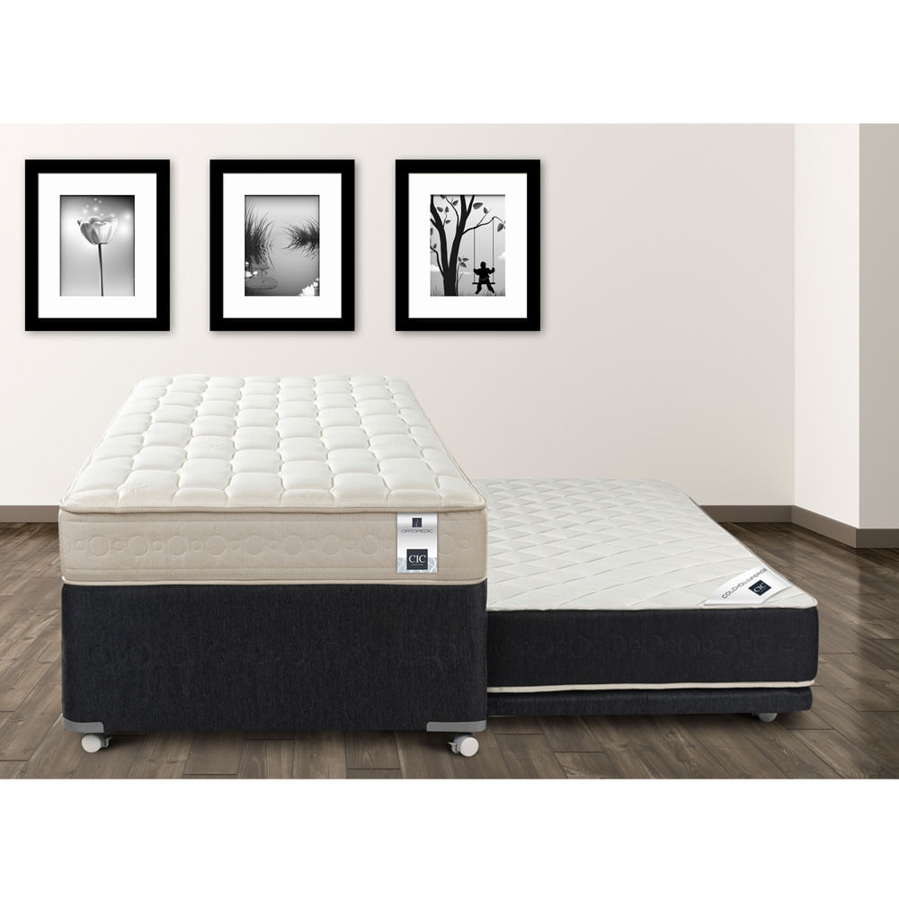 Divan cama 1 1 2 plaza cic ortopedic black 105x200 corona for Divan cama de 1 plaza