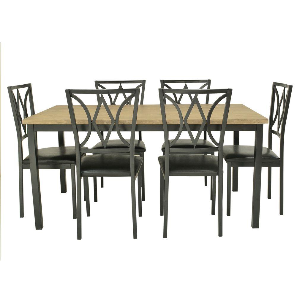 Juego de comedor saturno 6 silla metal madera natural corona for Juego de comedor de cocina