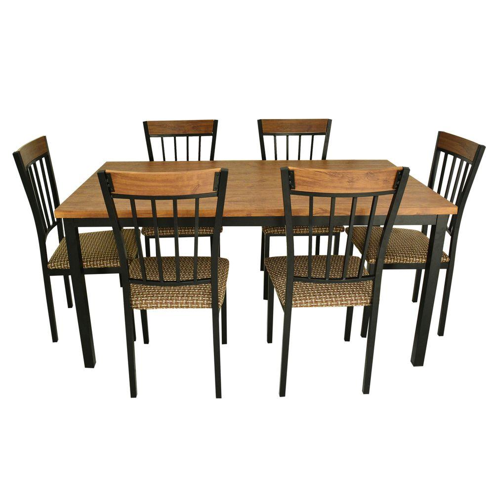 Juego de comedor indo 6 silla metal madera nogal corona for Juego comedor madera 6 sillas