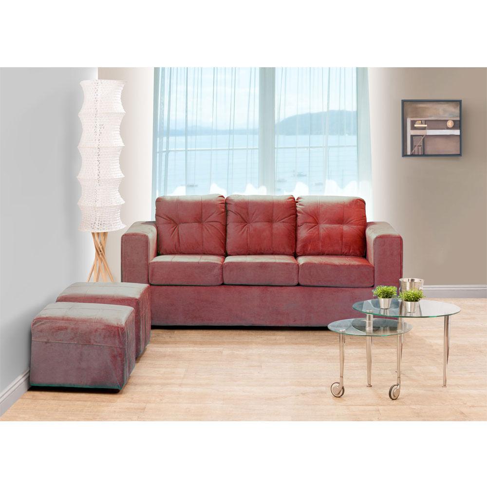 juego-de-living-kea-estela-sofa-3-cuerpos-2-pouf-felpa-rojo