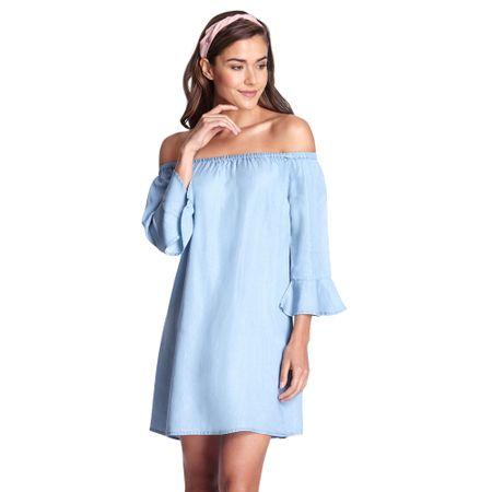 Vestido-Off-Shoulder-Vuelo-Mangas-Azul-