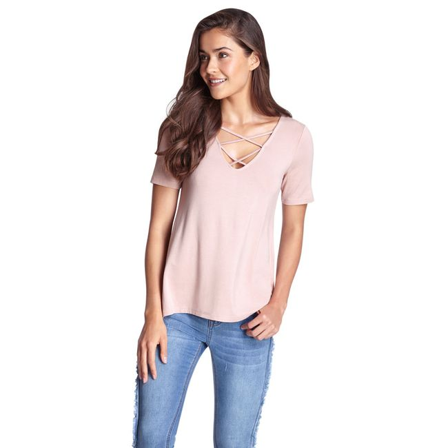 Polera-Viscosa-Manga-Corta-Lace-UP-Rosa-