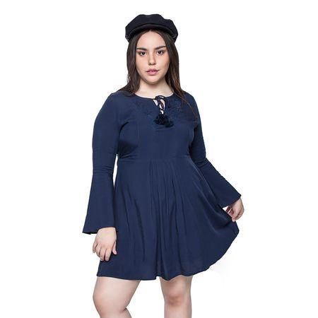 Vestido-Manga-Campana-Marino