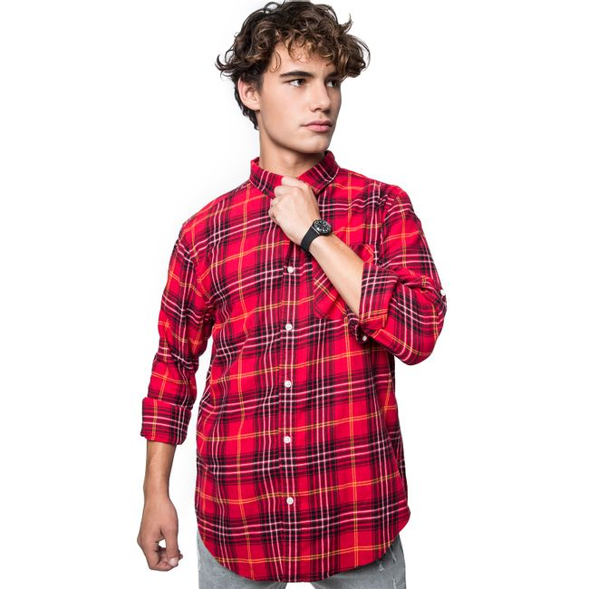 Camisa-Cuadros-Lineas-Long-Fit-Red