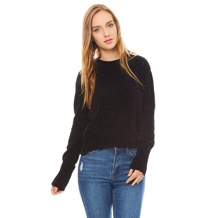 Sweater-chenille-Cuello-U-Negro-