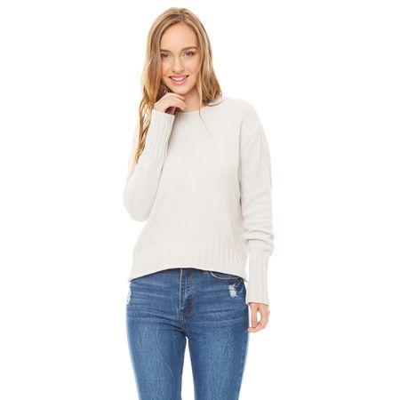 Sweater-chenille-Cuello-U-Ecru-